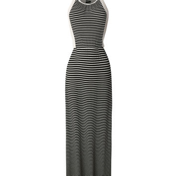 LE3NO Womens Lightweight Sleeveless Striped Maxi Dress with Stretch (CLEARANCE)