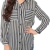 Women Plus Size Striped Pocket Loose Blouse