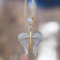Wings Pendant Sterling Silver Necklace Set