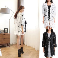 New Women Sheer Lace Floral Flower Long Knitted Cardigan Shirt Tops Blouse Coat  SV006953 = 1901814660