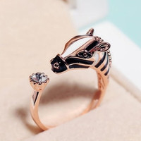 Fashion Zebra Horse Head Adjustable Index Finger Opening Ring Characteristic Jewelry