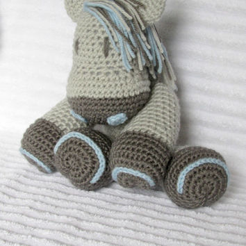 Crochet Horse Stuffed Animal in Grey and Light Blue, Crochet Animal, Horse Plush, Stuffed Horse, Horse Nursery, Western Nursery