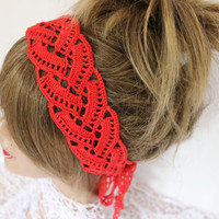 Crochet red headband, Red mesh tape, Red tape, Handmade headband, Bohemian hair band, Women hair bands, Red headband, Red beach accessories