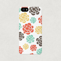 Sweet Neutral Pastel Flowers iPhone 4 4s 5 5s Floral Pattern Case