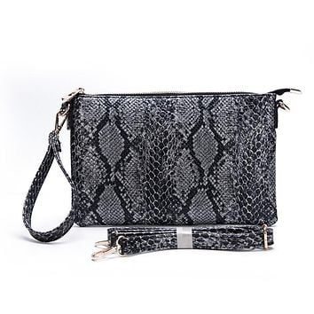 Only the Good Black Snakeskin Clutch