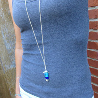 Sea Glass Fish Blues Super Long Silver Necklace  Approx 48 Inches by Wave of Life™