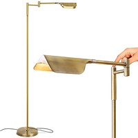 Brightech Leaf - Adjustable Pharmacy LED Floor Lamp for Reading, Crafts & Precise Tasks - Standing Bright Light for Living Room, Sewing - Great Lighting for Office Desks & Tables -Antique Brass/Gold Gold