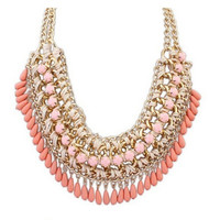 Europe and America Big Fashion Choker Lint Wrap Knit Resins Beads Chunky Gold Chain Statement Necklace Vintage Jewelry = 1958297796