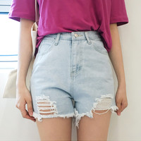 Light Blue Ripped Denim Shorts | mixxmix
