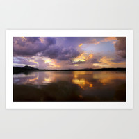 Panoramic. Sunset at the lake after the storm. End of the summer. by