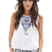 Tribal Print Sleeveless Cropped Top