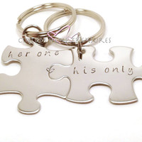 Her One His Only Keychains, Puzzle Piece Keychains, Hand Stamped Keychains, Set of 2 FREE US SHIPPING