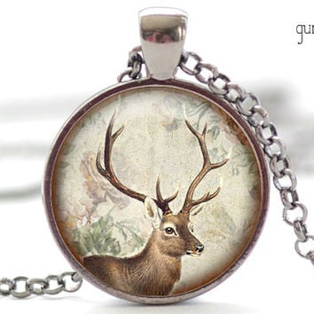 Woodland Necklace, Altered Art Deer Pendant, Woodland Jewelry, Buck Deer with Antlers Charm (571)