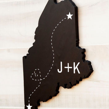 Custom Personalized State Shape wood cutout sign wall art.  Any US state.  Initials, Town Locations, Stars, Heart, Love, Wedding Decor Gift