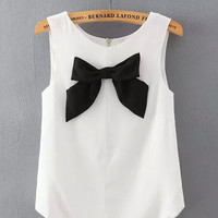 White Sleeveless Chiffon Blouse with Black Bow Tie