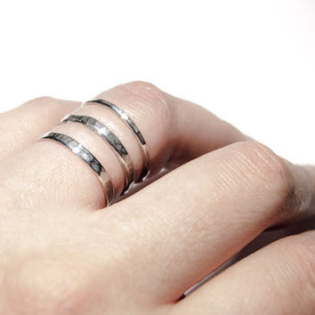 Stacking  rings, set of three, sterling silver, oxidized, hammered
