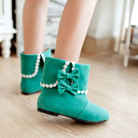 Lolita Sweet Girls Bowknot Faux Suede Pull On Shoes Womens Cuffed Ankle Boots