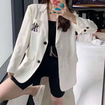 """New York Yankees""Women Temperament Fashion Lapel Letter Embroidery Buttons Long Sleeve Cardigan Suit  Coat"