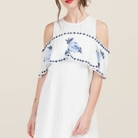 Liana Cold Shoulder Floral Embroidered Dress