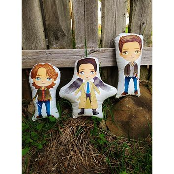 Supernatural Pillow Pals. The Brothers and their Angel.