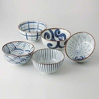 Saikai Pottery Traiditional Japanese Blue And White patterns Japanease Rice Bowls (5 bowls set) 31043 from Japan: Kitchen & Dining