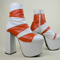 90s Rare Clubkid Cyber Goth White Orange Striped Leather Mega Heel Chunky Platform Slim Fitting Zipper Ankle Boots UK 4 / US 6.5 / EU 37