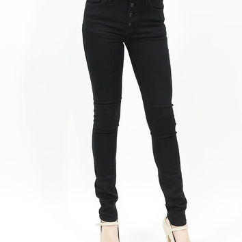 Button up high waisted ankle skinny jeans