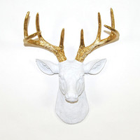 Faux Deer Mount - The MINI Alfred - White w/Gold Antlers Resin Deer Head- Stag Resin White Faux Taxidermy- Chic & Trendy