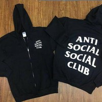 ONETOW Anti Social Social Club Zip Up Black Hoodie Mind Games/ Hypebeast ,ASSC,Kanye West -i