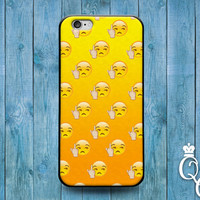iPhone 4 4s 5 5s 5c 6 6s plus + iPod Touch 4th 5th 6th Generation Cute Custom Yellow Phone Cover Funny Middle Finger Emoji Face Cool Case