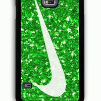 Samsung Galaxy S5 Case - Rubber (TPU) Cover with glitter green nike Rubber Case Design