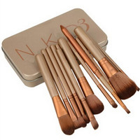 Practical 12 Pcs Fiber Makeup Brushes Set with Iron Box naked 4