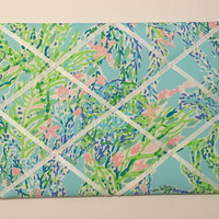 New memo board made with Lilly Pulitzer Skye Blue Blue Heaven