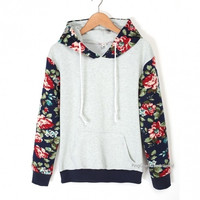 Fashion Ladies Women Casual Hooded Long Sleeve Patchwork Floral Loose Leisure Sports Hoodie Sweat