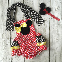 Minnie Mouse Red Baby Romper Birthday Outfit Cake Smash