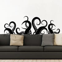 Octopus Wall Decal Vinyl Sticker Decals Kraken Octopus Tentacles Fish Deep Sea Scuba Ocean Animals Bathroom Home Decor Bedroom Dorm ZX164