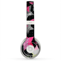 The Neon Highlighted Polka Stars On Black Skin for the Beats by Dre Solo 2 Headphones