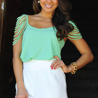 Cascading Waters Blouse: Mint Green | Hope's