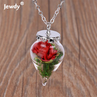 European and American film beauty and beast 2017 dry flower necklace glass romantic original roses necklace female