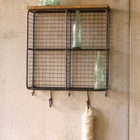 Wire Mesh Four Square Cubbies with Wooden Top - Raw