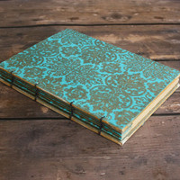 Formal Aqua and Gold Folded Wedding Guest Book - Anniversary Party, Event Book