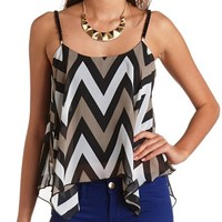 CHAIN STRAP ASYMMETRICAL CHEVRON TOP