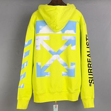 Off White Autumn And Winter Fashion New Letter Stripe Arrow Print Hooded Long Sleeve Sweater Top Yellow