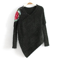 V-neck Long Sleeve Irregular Sea Hollow Out Knit Tops Sweater [8216402945]