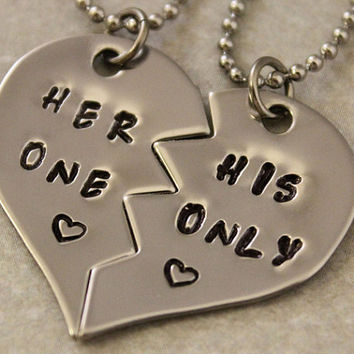 Her One His Only Necklaces - Girlfriend Boyfriend Gift - Couples Jewelry - Hand Stamped His and Her Necklaces - Stainless Steel