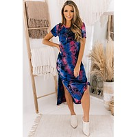 Laid Back Living Tie Dye Midi Dress (Navy)
