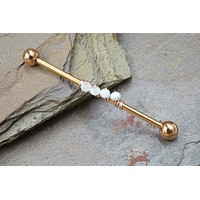 White Moonstone Industrial Barbell
