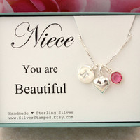 Gift for niece necklace sterling silver birthstone necklace you are beautiful birthday gift from aunt initial necklace personalized gift box
