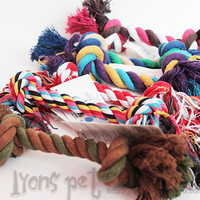 Hot sales Pets dogs pet supplies Pet Dog Puppy Cotton Chew Knot Toy Durable Braided Bone Rope 15CM Funny Tool free shipping