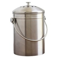 Natural Home 1.3 Gallon Stainless Steel Compost Bin with Filter - Silver